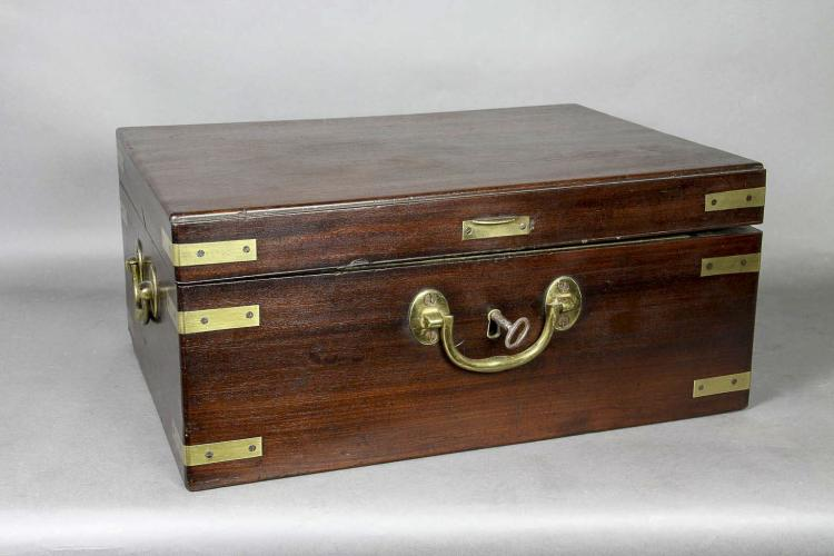 George III Mahogany and Brass Mounted Strongbox