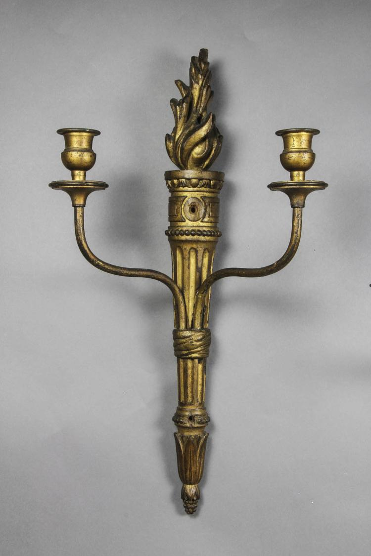 Pair of Louis XVI Carved Giltwood Sconces