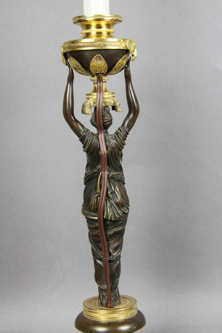 Russian Neoclassic Bronze and Ormolu Candlestick Lamp