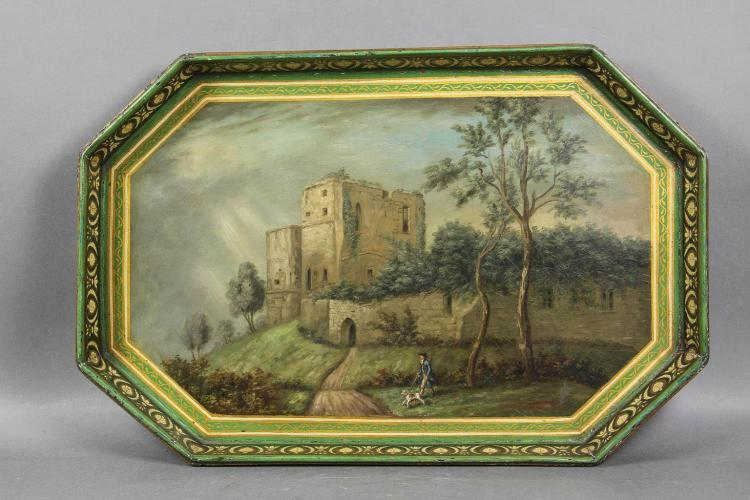 Regency Green Painted Papier-mâché Tray