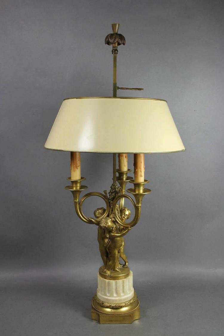 Louis XVI Style Marble and Gilt Bronze Lamp