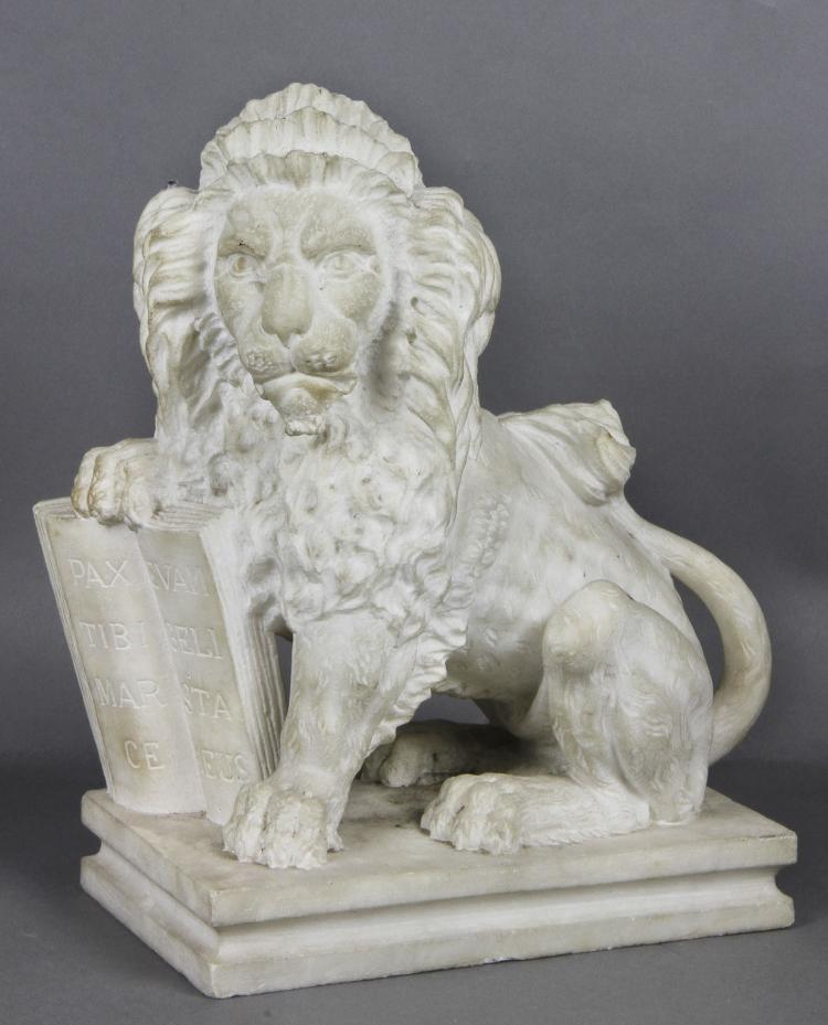 Italian White Marble Lion of St. Mark