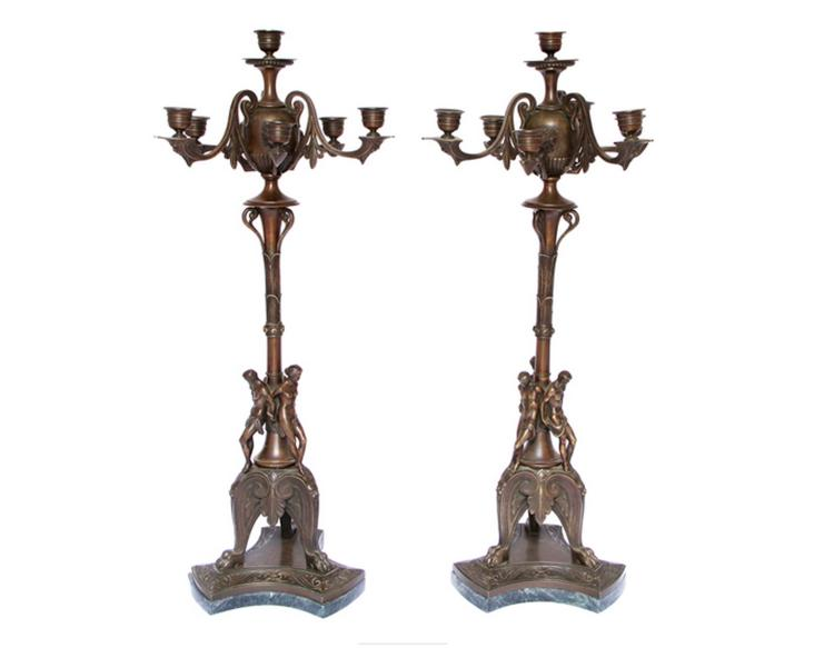 Pair Of Etruscan Revival Bronze Candelabra