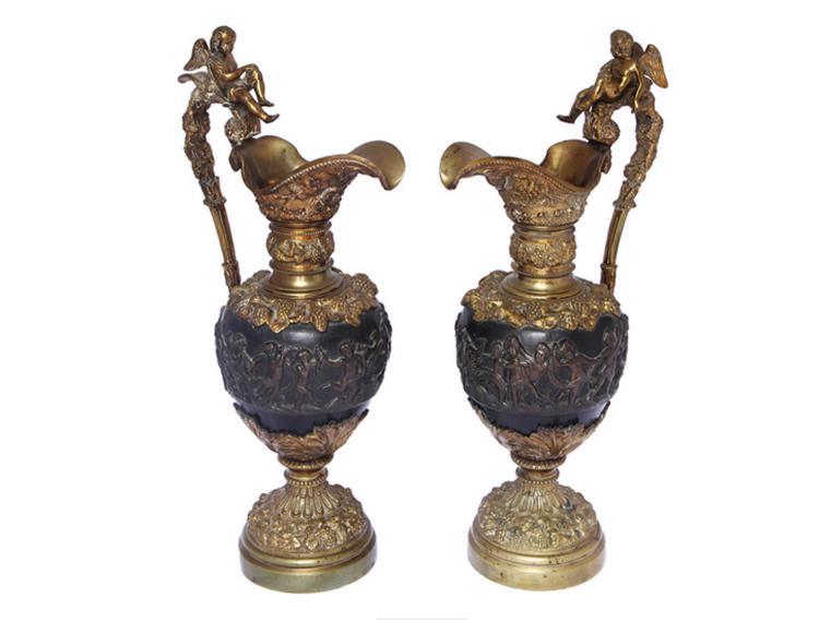 Pair Of Louis XVI Style Bronze Ewers