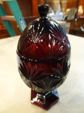 Ruby Red Egg Shaped Compote With Lid