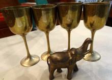 5pc Goblets & Elephant Statue