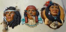 3 Pc. Ceramic Indian Maiden Faces