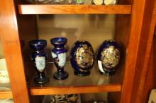 2 Blue Hand Painted Vases & 2 Blue/Gold Decorative