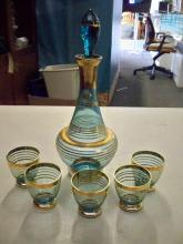 Bohemian Decanter & 5 Glass Pieces