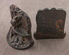 Figure Drinking Cast Iron Bookends Sides