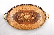 Ornate Marquetry Oval Tray, Floral Inlay 20