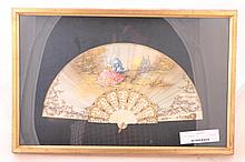 Framed Antique Ivory/Bone Hand Painted Fan