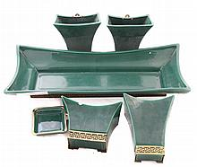 6-Piece Oriental Planters and Wall Pockets