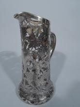 Antique Silver Overlay Claret Jug by Alvin