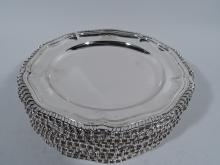 Set of 12 English Georgian Style Sterling Silver Bread & Butter Plates