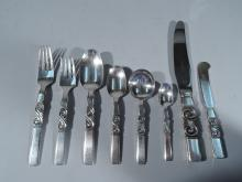 Georg Jensen Scroll Sterling Silver Dinner Set for 12 with 90 Pieces