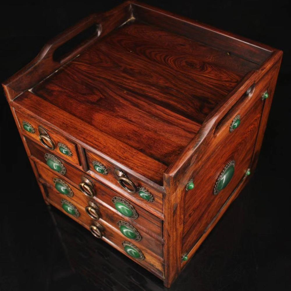Red Wood Hand Carving Inlaid Gems Small Tea Table
