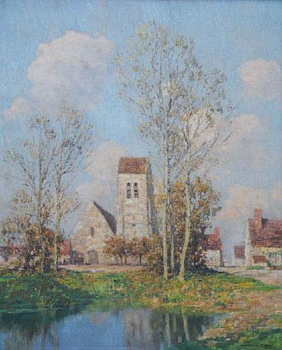 Marcel BAIN (1878-1937) « L'église du village »
