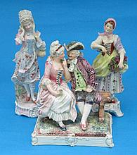 A Dresden porcelain figure group of a couple,