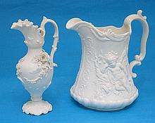 A T and R Boote white bisque ceramic jug,