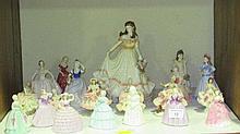 A collection of fourteen Coalport porcelain