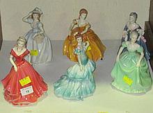Six Coalport porcelain figures of ladies, from the