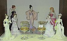 Four Coalport porcelain figures of Ladies, three