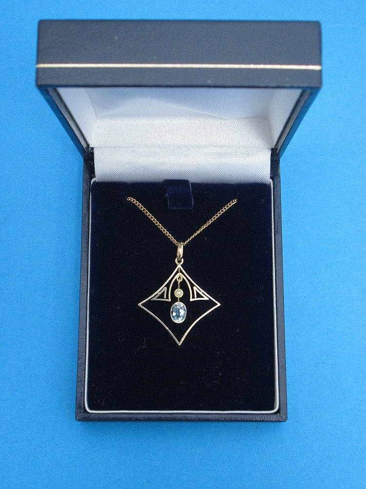 A 9ct gold and gemstone pendant necklace, diamond
