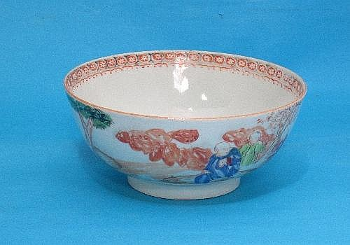A Chinese porcelain bowl, circular shape, painted