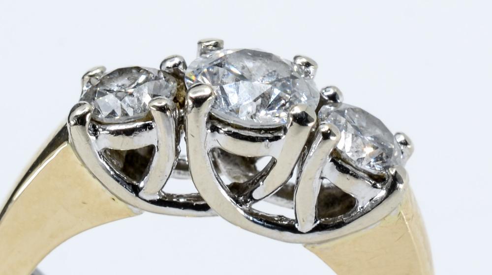 14K Three Stone Diamond Ring 1.58 CTW
