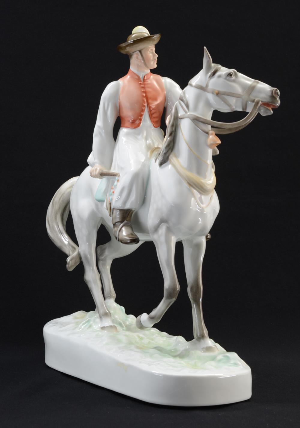 Herend Porcelain Figurine: Man on Horse
