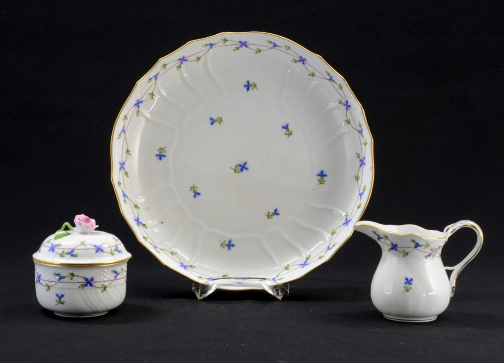 """3 pcs Herend Porcelain """" Blue Garland"""""""