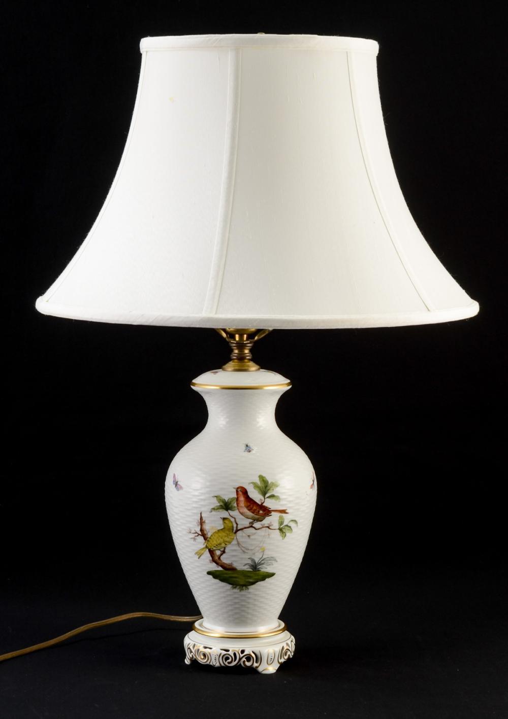 Herend Rothschild Bird Porcelain Lamp