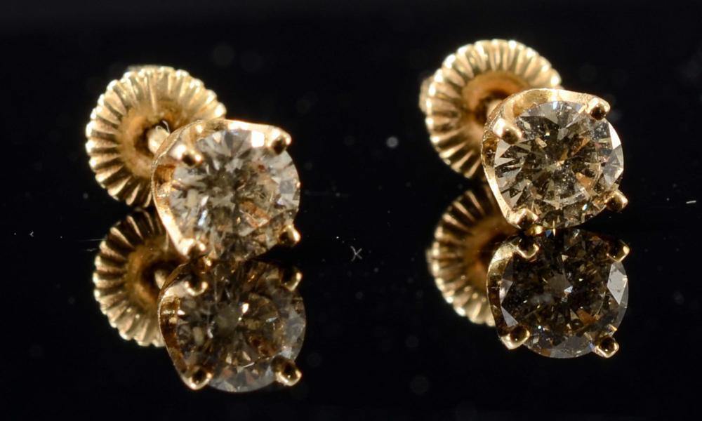 Pair of Ladies 14K Diamond Stud Earrings