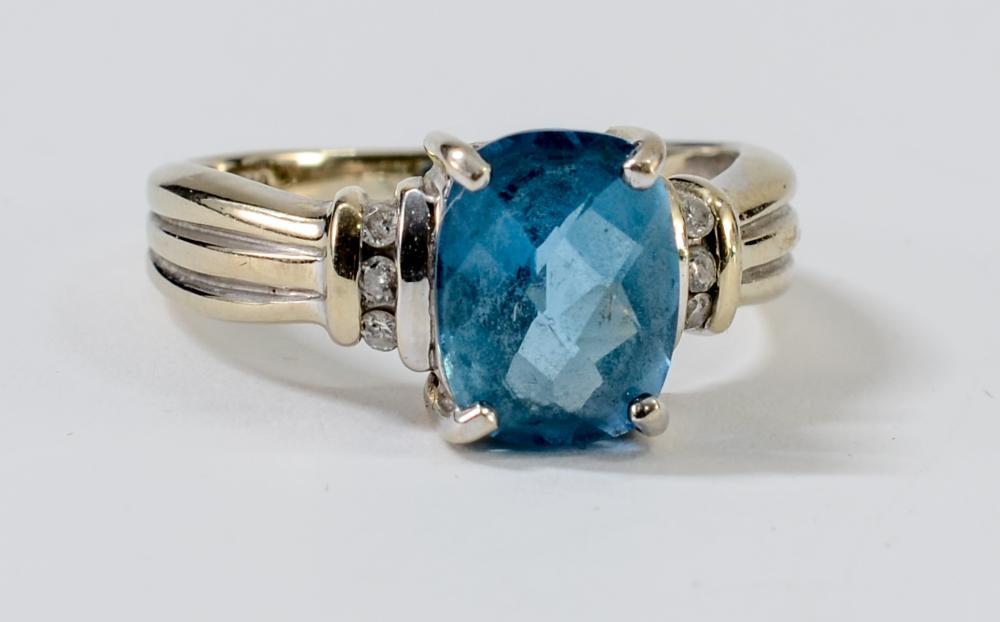 Ladies 14K Diamond & Blue Topaz Ring