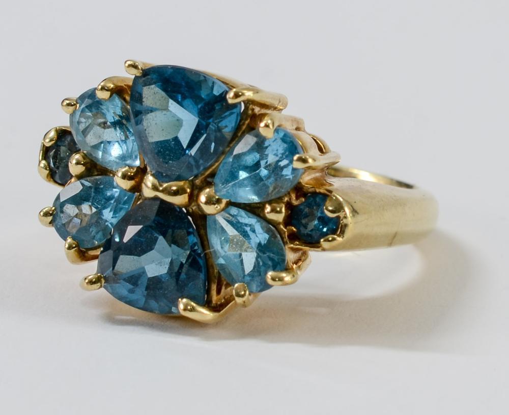 Ladies 10K Blue Topaz Cocktail Ring