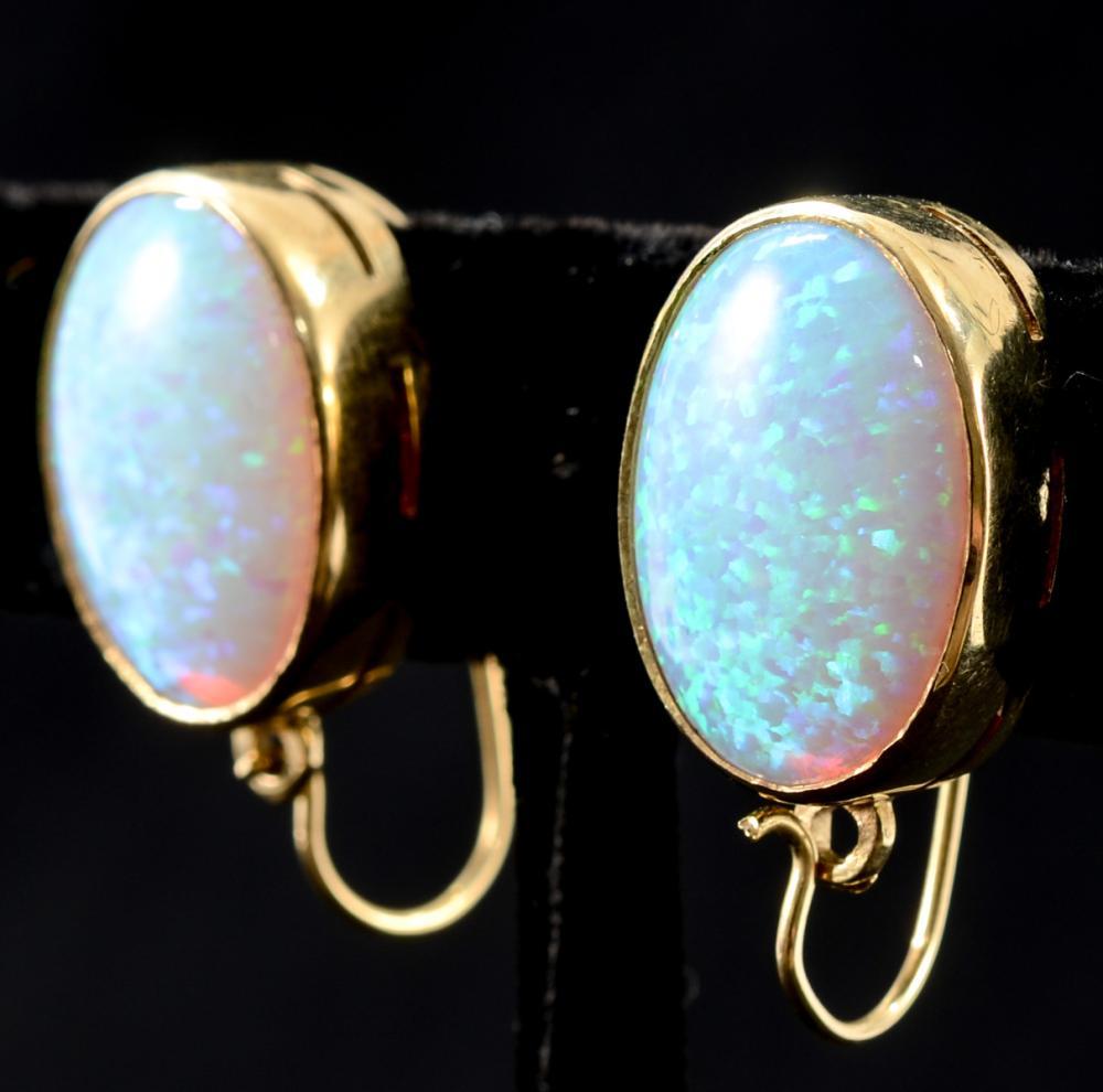 Ladies 14K White Opal Earrings