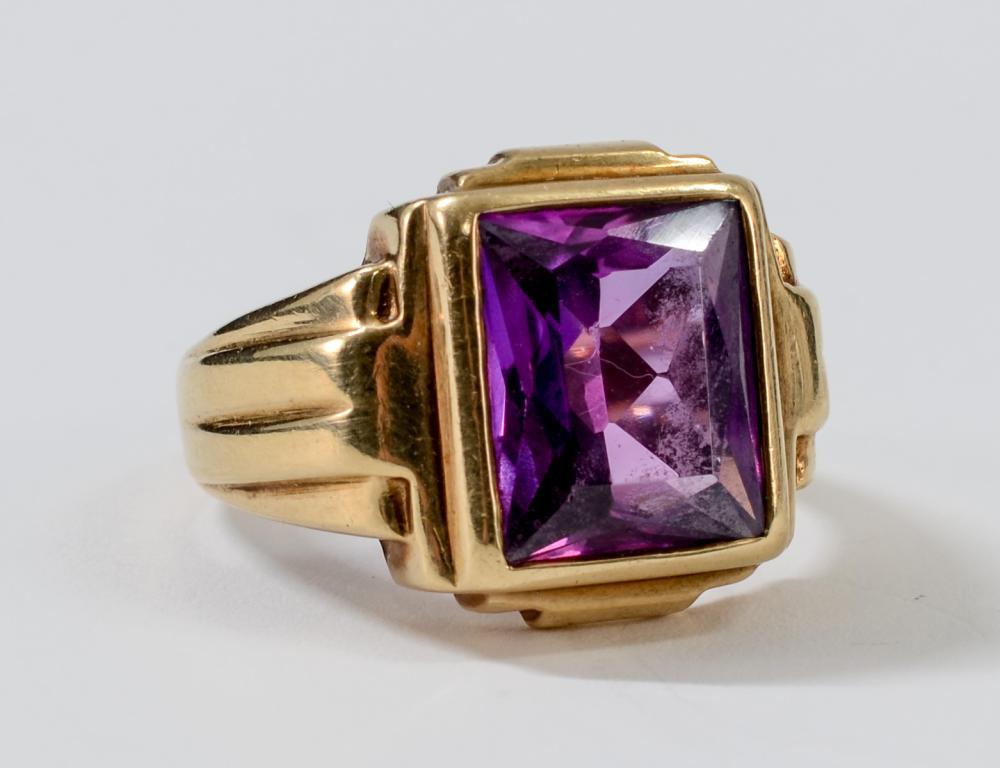 Mens 10K Gemstone Ring