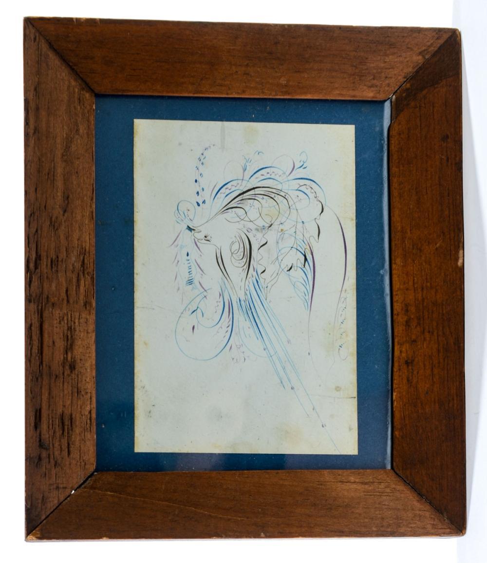 Spencerian Bird: Antique Calligraphy Drawing
