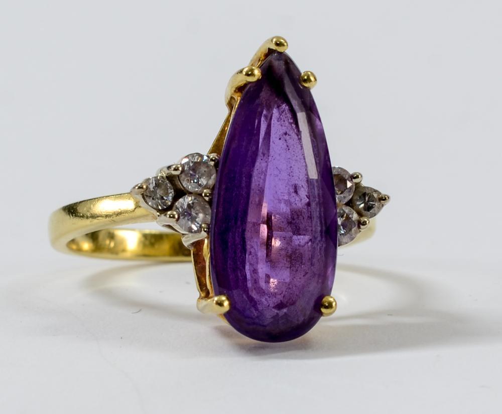 Ladies 14K Diamond & Amethyst Ring