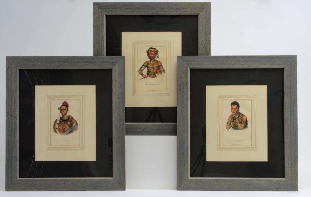 Three John T Bowen American Indian lithos