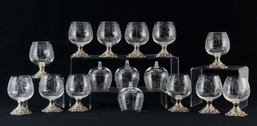 Twelve Sterling Silver German Cordial Glasses