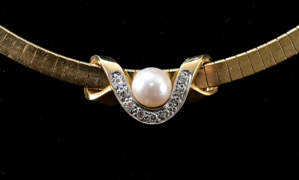 Ladies 14K Necklace: Pearl & Diamond Slide