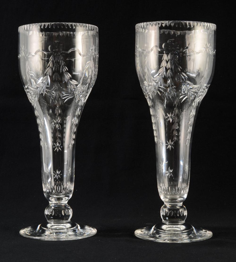 Pair of Cut Glass Vases