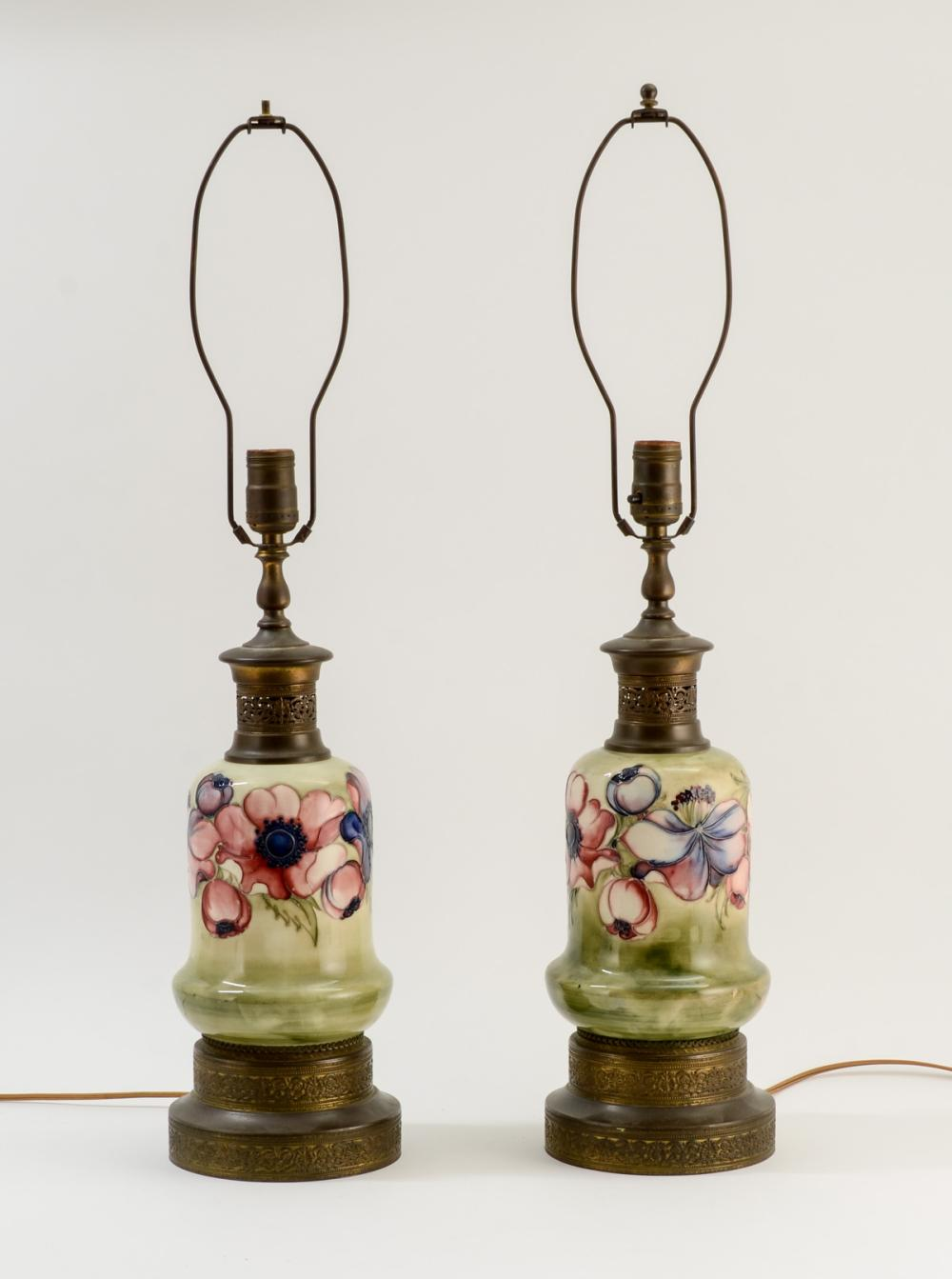 Pair of Moorcroft Pottery Lamp Bases