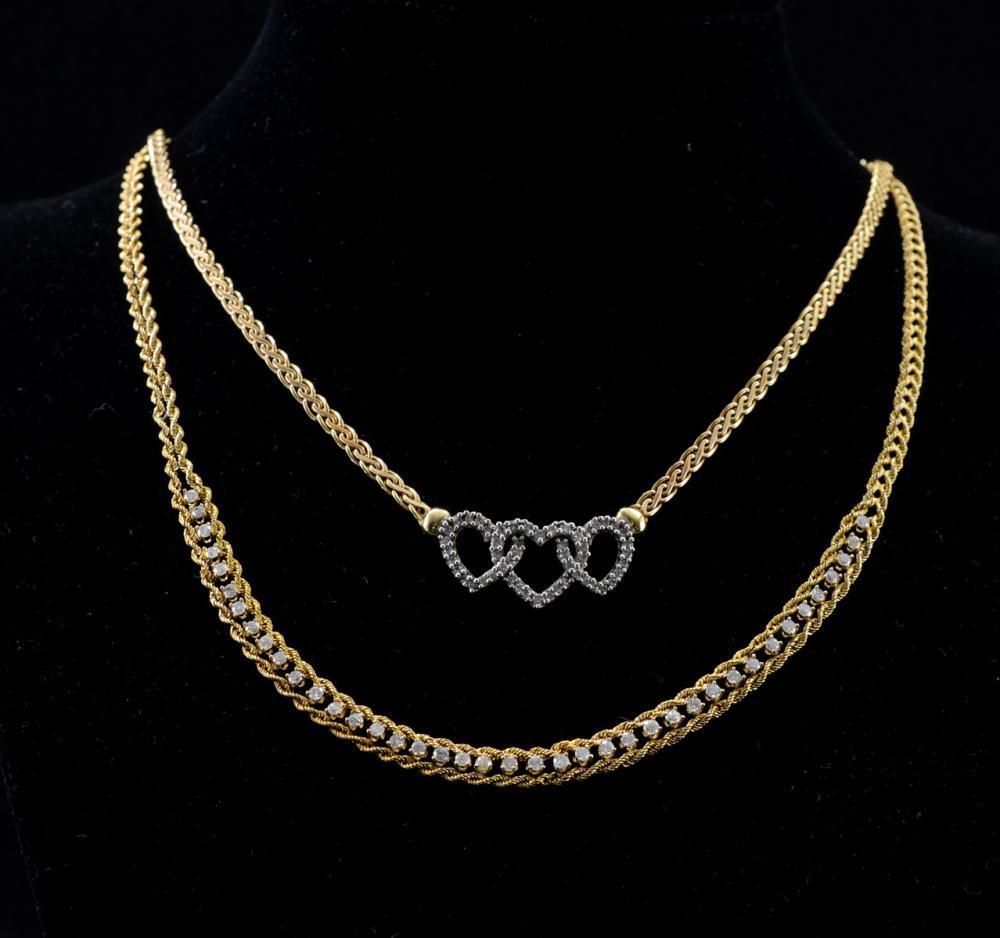 Two Ladies 14K Diamond Necklaces