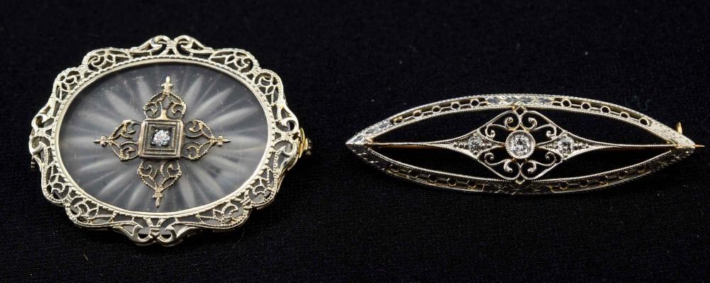 Two 14K Antique Diamond Pins