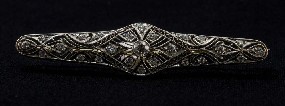 14K Diamond Bar Pin