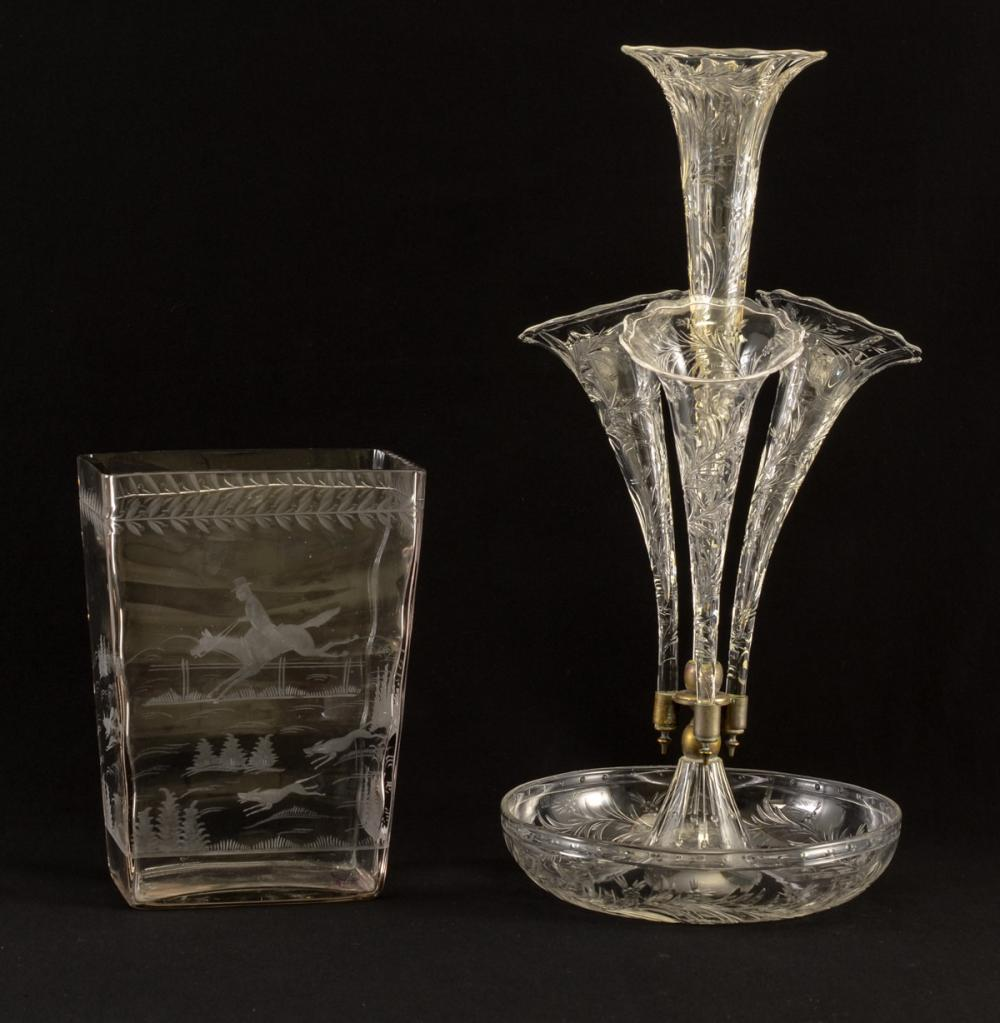 Two Pcs: Hawkes American Cut Glass