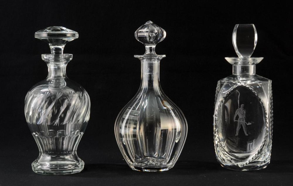 Three Crystal Decanters Incl. Lalique
